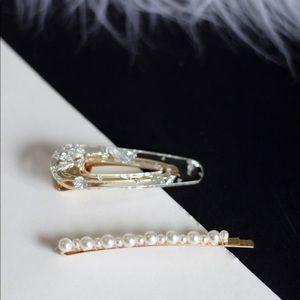 Clear Silver Foiled Hair Barrette & Pearl Hair Pin